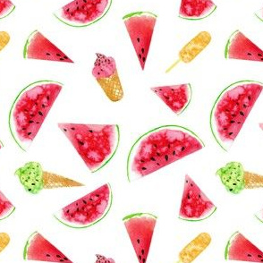 watermelon slices, ice cream cone - small scale watercolor painted summer food graphic