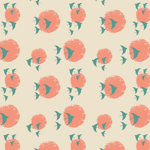 across the sun in coral and green