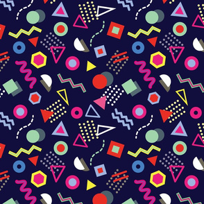 Trendy geometric shapes. Memphis Style. Colorful & Navy.