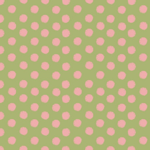 Sun polka dot in salmon and olive