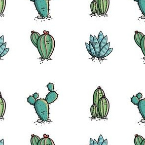 Kawaii Cute Desert Cactus Plants in Green and White