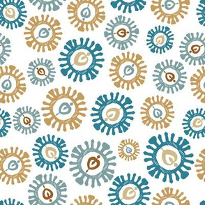 Scandi wheels in blue and gold