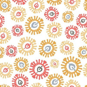 Scandi wheels in coral and gold