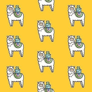 Kawaii Cute Gift Carrying Llama in Yellow and White
