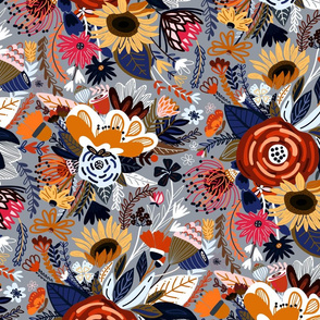 Popping Floral - Orange & Navy - Large
