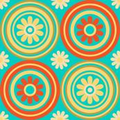 Retro Floral Tile Circles Mid Century Modern Turquoise Orange Yellow