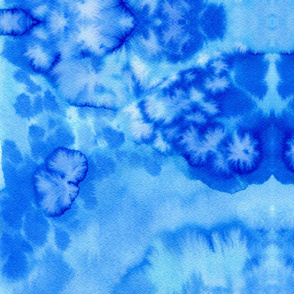 watercolor blue painted abstract - medium scale graphic