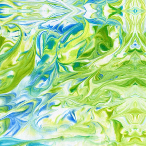watercolor green, blue marble painted abstract - large scale graphic