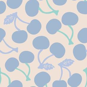 Summer Cherries Blue Green White