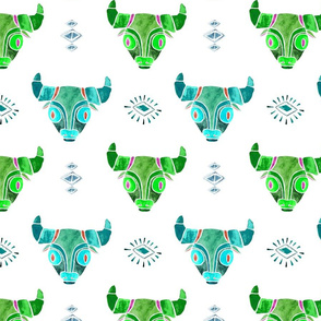 Blue and green bull