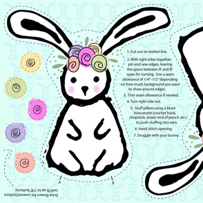 Bunny with Flower Crown - cut & sew plushie pillow