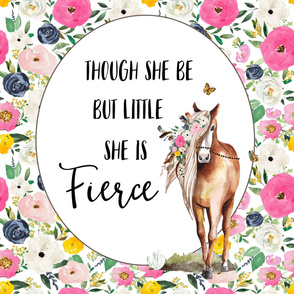 "27""x36"" / 2 to 1 Yard of Minky / Though She Be Floral Horse Quote"