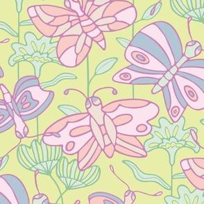Spring Butterflies Floral Pink Purple Green Orange
