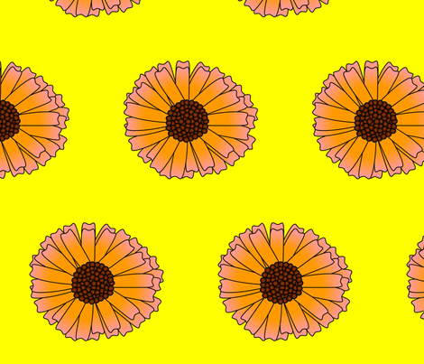 giant pink daisy fabric by spunky_eclectic on Spoonflower - custom fabric