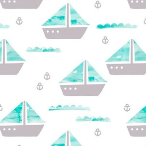 Watercolor sailing boat under water ocean life marine anchor boats blue gray gender neutral