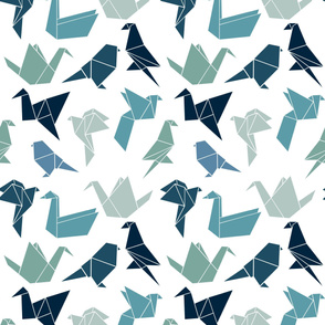 Maximalist Origami Birds in White