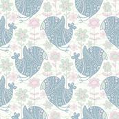 Big Blue Bird Floral Garden Pink Green