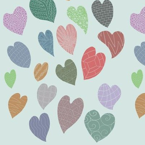 Hearts with patterns