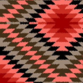 Fuzzy Look Coral and Gray Kilim Eye