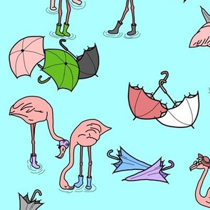 Flamingos in Galoshes on Aquamarine