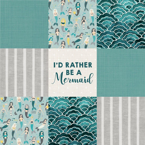 I'd Rather Be A Mermaid Faux Quilt 6""