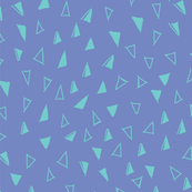Tumbling Triangles - aqua on periwinkle blue