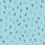 Tumbling Triangles - periwinkle blue on aqua