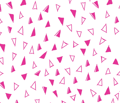 Tumbling Triangles - hot pink on white fabric by orangepoppydesigns on Spoonflower - custom fabric