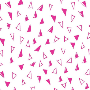 Tumbling Triangles - hot pink on white