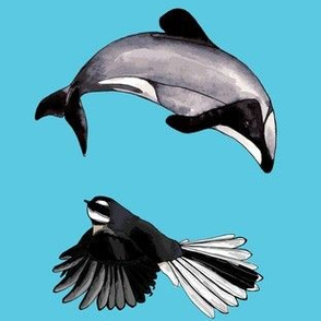 Dolphin + Fantail Blue