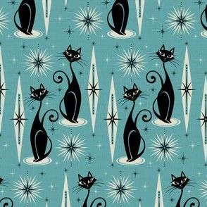 Mid Century Meow - Blue Horizontal