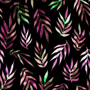 tropical purple leaves on black