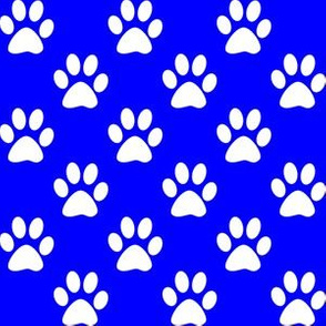 One Inch White Paws on Blue