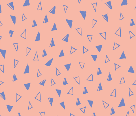 Tumbling Triangles periwinkle on peach-01 fabric by orangepoppydesigns on Spoonflower - custom fabric
