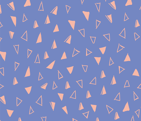 Tumbling Triangles - peach on periwinkle blue fabric by orangepoppydesigns on Spoonflower - custom fabric
