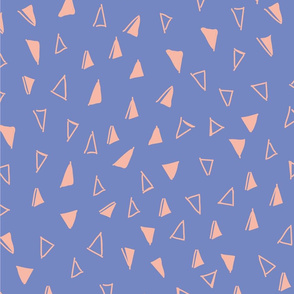 Tumbling Triangles - peach on periwinkle blue