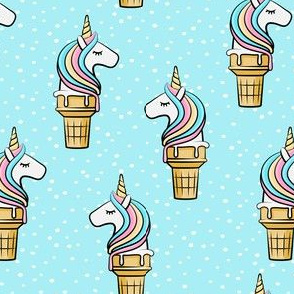 Unicorn Cones - Unicone - blue polka - LAD19