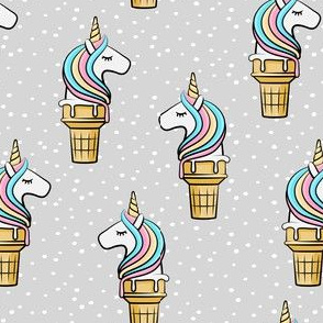 Unicorn Cones - Unicone - grey  polka - LAD19