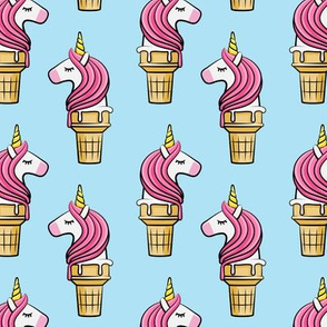 Unicorn Cones - Unicone - pink on blue - LAD19