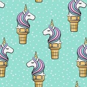 Unicorn Cones - Unicone - teal  polka - LAD19