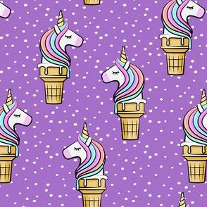 Unicorn Cones - Unicone - purple  polka - LAD19