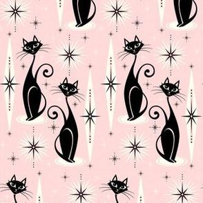 Mid Century Meow on Warm Pink - Horizontal