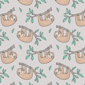 Sloth Sloths on Tree Branch with Leaves on Light Grey 2,75 inch