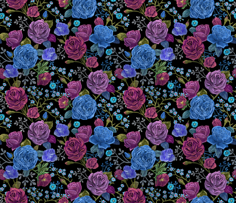 Moody Roses Small fabric by vinpauld on Spoonflower - custom fabric