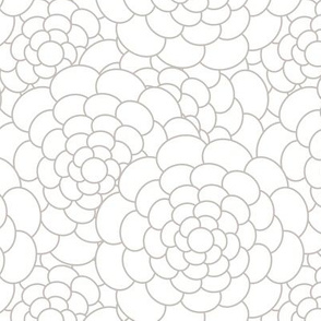 Beige on White Oval Flowers