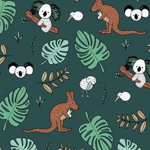 Australian outback animals and New Zealand birds jungle leaves illustration print kids summer night green boys