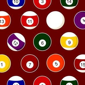 Pool Balls Billiards Burgundy