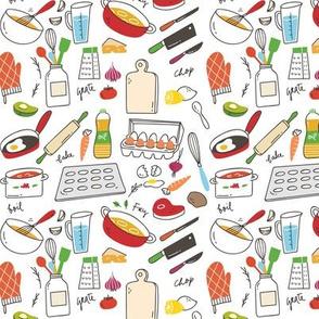 Retro Kitchen Doodle Pattern