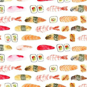 Yummy sushi || watercolor for kitchen