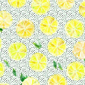 Summer lemonade with green dots || watercolor lemons